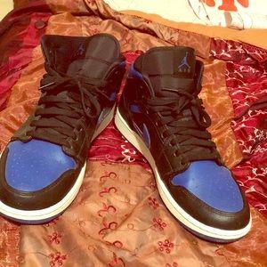 Air Jordan 1's blue black & white